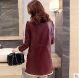 Stile lungo di Shearling del cappotto del nero del cappotto di cuoio lungo del cuoio per il cappotto di pelliccia delle donne