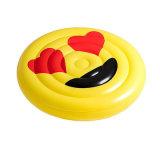 flotteur gonflable de syndicat de prix ferme de face de sourire de PVC de couleur jaune de 160cm