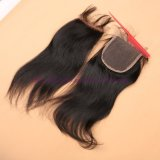 漂白されるインドのまっすぐなレースの閉鎖8Aは自由な/Middle /3の部品の閉鎖の赤ん坊の毛を搭載する最もよい品質4*4のバージンの毛のレースの閉鎖を結ぶ