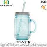 Klassische 20oz BPA geben Plastiktrommel, doppel-wandiges Plastikmaurer-Glas mit Griff frei (HDP-0018)