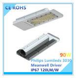 Iluminação de rua Ultra-Magro do diodo emissor de luz de 90W a Philips Lumileds com certificação de RoHS do Ce