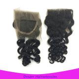 Свободно отбеленная часть завязывает волос девственницы итальянского волнистого закрытия шнурка бразильские