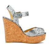 (Donna-in) sandali classici dell'alto tallone del cuneo del sughero delle donne del reticolo del serpente
