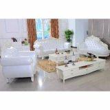 Sofà di cuoio con il blocco per grafici del sofà e la Tabella di legno del lato (D929F)