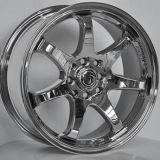 A prata/preto Hyper/cromo rodam bordas da roda da liga do carro