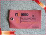 Modifica di caduta del tessuto stampata Hangtag dei jeans con stringa di nylon