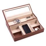 Qualitäts-Uhr-Kasten-Schmucksache-Organisatorbrown-Fall mit 12 Kissen verschließbar (LW-JB0330)