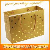 金のロゴの白いカスタム紙袋(BLF-PB013)
