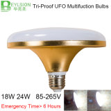 tempo Emergency di emergenza di ore degli indicatori luminosi di lampadina del UFO LED di 18W E27 >5