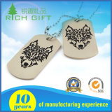 スタンプの記念品のギフトとして刻まれるロゴの銀製の金属のステンレス鋼のドッグタッグ