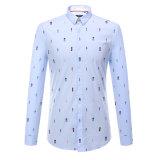 2017 hombres del resorte imprimieron la camisa de alineada del algodón de la camisa