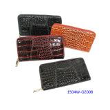 Fashion Wallet del Faux di Croco del reticolo del cuoio della signora nera