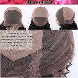 Peluca llena india del cordón del pelo humano de la Virgen de la onda natural de la carrocería negra