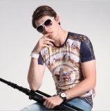 T-shirt respirable de chemise de circuit d'été estampé par cire de mode