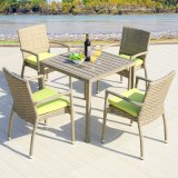 テラスの柳細工の家具アルミニウムプラスチック木製表アーム椅子(J818-90)