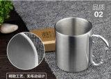 Taza de café doble del acero inoxidable de la pared con la tapa negra y la maneta de los PP