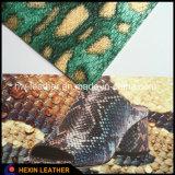 Кожа PU зерна живота питона змейки синтетическая для ботинок Hx-S1715