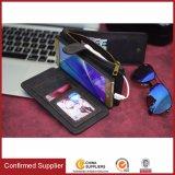 Caixa genuína do telefone de pilha do couro da carteira da vaca com o ímã para Samsung S8, borda S8