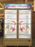 二重ガラスドアが付いているスーパーマーケットの飲料の表示クーラー中国製