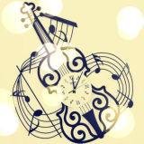 Music Violin Art Style Horloge murale pour décoration
