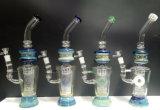 Tubo di acqua di vetro blu placcato argento all'ingrosso