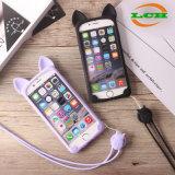 iPhoneのためのLayardの電話箱とのかわいい猫柔らかいTPU