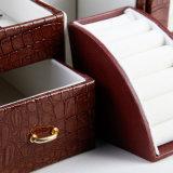 Il cuoio di lusso dell'unità di elaborazione di bellezza di caso cosmetico delle signore trasporta la cassa cosmetica portatile di corsa della casella di caso