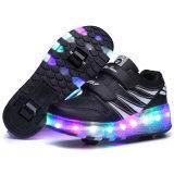 Zapatos superiores de los pcteres de ruedas del deporte de la tapa LED de la PU de las nuevas del molde señoras de la manera altos