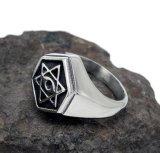 Aço inoxidável baixo preto Matte do anel da cauda dos homens do Hexagram