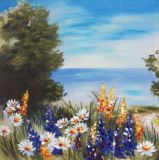 Peinture à l'huile fabriquée à la main grande de toile de la vue 100% de mer