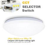 SAA de prueba 3 blanco de salida a través del interruptor selector de luz de techo de 20W IP44 preestablecido CCT LED Oyster