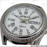Correia de couro cristal requintada, Relógio luminoso de aço inoxidável