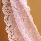 Lacet net floral noir à la mode de broderie