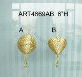 Ornamento del árbol de la cinta y del grano del oro, 2asst, - bola de Chritmas