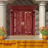 Высеканная экстерьером двойная дверь входа твердой древесины виллы (XS1-005)