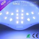 El secador del polaco de clavo ningún dolor y rápido seca toda la lámpara Sun5 48watt del clavo de la luz UV LED de los geles