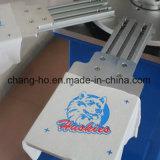 Máquina de impressão da tela do t-shirt de três cores