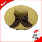 Sombrero ancho del disco blando de la paja del papel de sombrero de paja del borde de la mujer