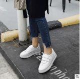 Zapatos antideslizantes planos de la sutura ocasional del coche del Velcro del cuero genuino de las mujeres