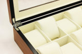 10 Schlitz-Glanz-Lack-hölzerner Uhr-Ablagekasten