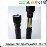 6W linterna Emergency del aluminio del CREE que acampa LED+COB Strboe