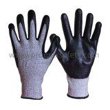Hppe ha lavorato a maglia gli anti guanti del lavoro di taglio con la palma nera del nitrile della gomma piuma ricoperta