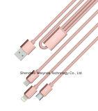 3 en 1 aislamiento de nylon USB y cable de datos para iPhone, Samsung, tipo C móvil