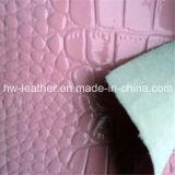 Кожа PVC крокодила для мешков Hw-1453 ботинок