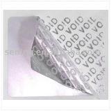 Contrassegno opaco d'argento della garanzia di Anti-Falsificazione di Hotsale con il vuoto