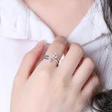 O anel creativo da prata esterlina da forma 925 das mulheres embutiu o anel aberto da CZ