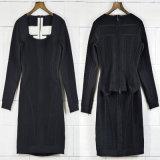 Stutzen-Kurzschluss-Kleid der Dame-Black Jacquard Long Sleeve reizvolles quadratisches