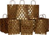 Мешки подарка Kraft, фольга Горяч-Штемпелюют мешок печати Полька-МНОГОТОЧИЯ бумажный, мешок подарка, бумажную хозяйственную сумку