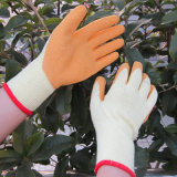 青い乳液の上塗を施してある手袋の安全庭手作業手袋