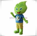 O traje da mascote da folha planta a mascote com logotipo personalizado